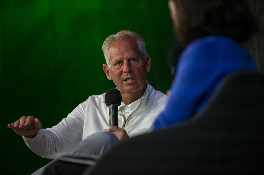Danny Ainge, Boston Celtics president of basketball operations, speaks with reporter Shira Springer at WBUR's CitySpace on Friday. (Jesse Costa/WBUR)