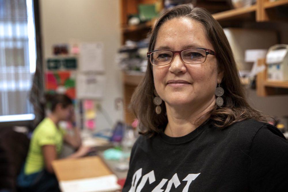 Professor of Biology and Chemistry Catherine Drennan, at her lab at MIT. (Robin Lubbock/WBUR)