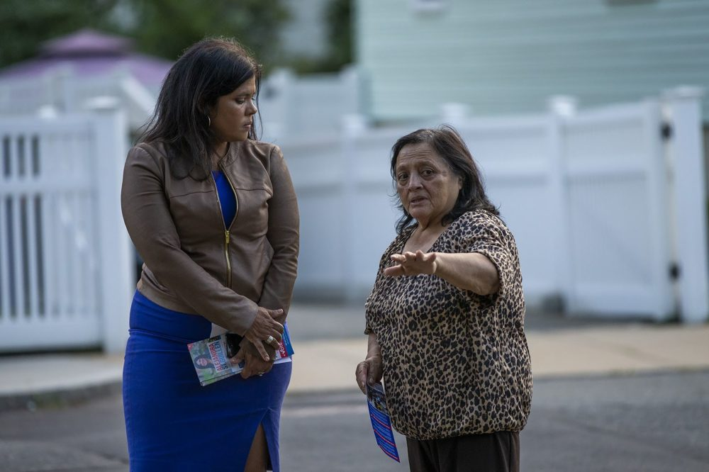 While canvasing through a Roslindale neighborhood, Alejandra St. Guillen, left, listens to resident Radrigunda Marmanillo speak about issues in the area. (Jesse Costa/WBUR)