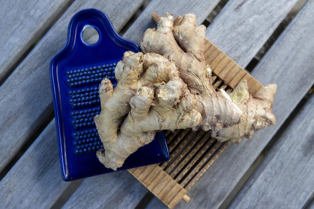 Ginger and ginger grating tools. (Jesse Costa/WBUR)