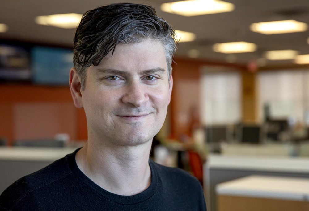 """Michael Schur, creator of the """"Good Place,"""" writer and producer for """"The Office,"""" and co-creator of """"Parks and Recreation.""""  (Robin Lubbock/WBUR)"""