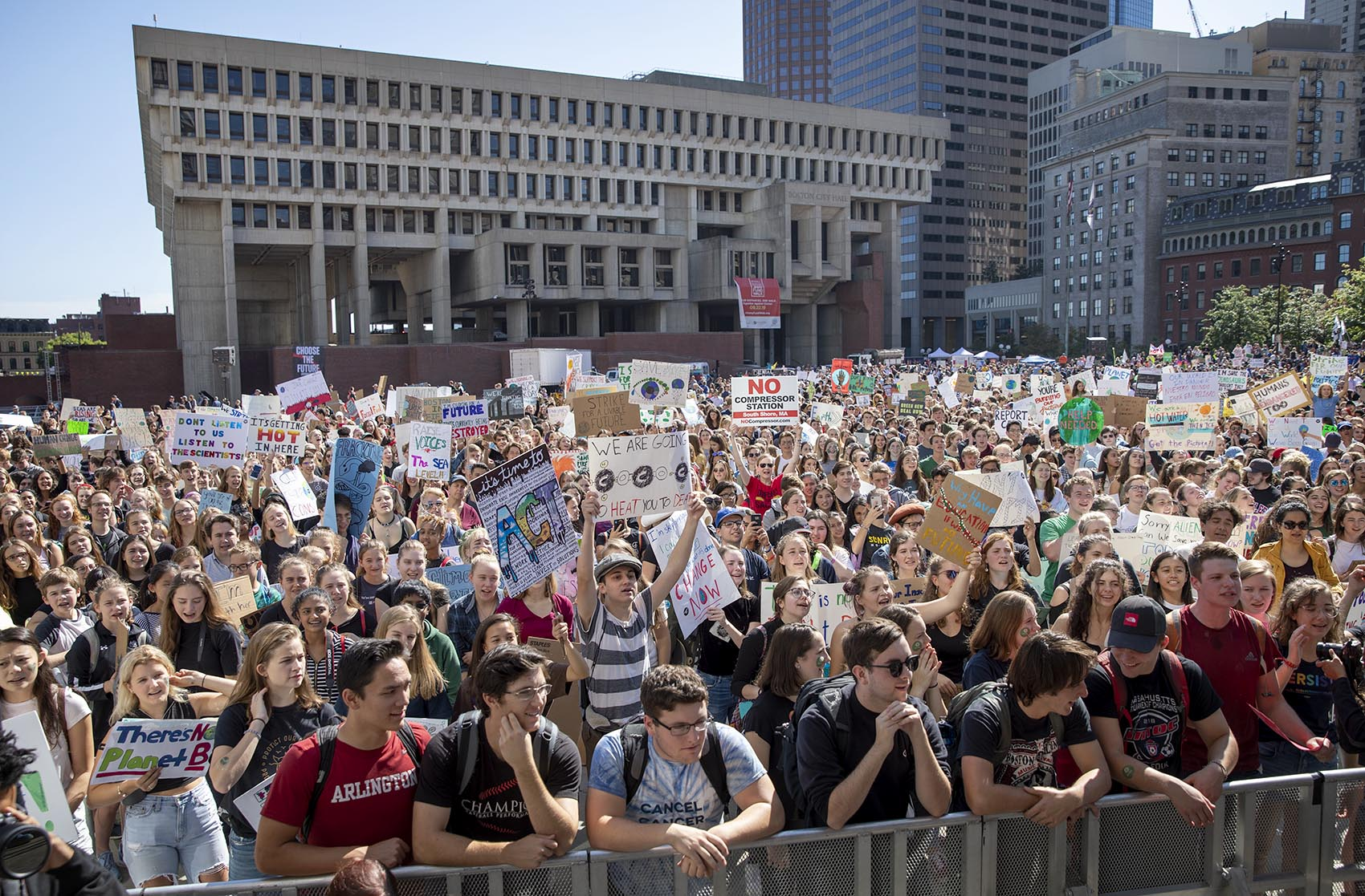 Protesters at the youth climate strike at Boston City Hall Plaza