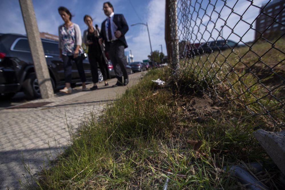 Boston City Councilor Annissa Essaibi George, WBUR reporter Deborah Becker and state Sen. Nick Collins walk past a used syringe and needle left in the grass on Bradston Street. (Jesse Costa/WBUR)