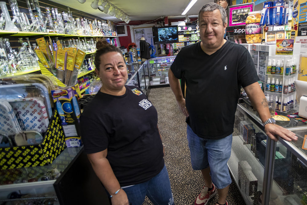 Fast Eddie's Smoke Shop manager Cathy McCarthy and owner Richard Lamoretti. (Jesse Costa/WBUR)
