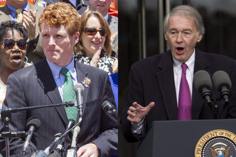 Rep. Joe Kennedy III and Sen. Ed Markey (Joe Difazio for WBUR, Jesse Costa/WBUR)