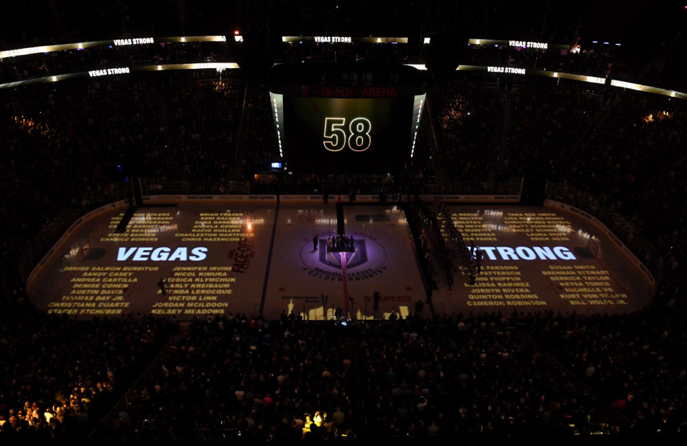 The Las Vegas Golden Knights honored first responders and victims of the shooting at their inaugural home opener. (Ethan Miller/Getty Images)