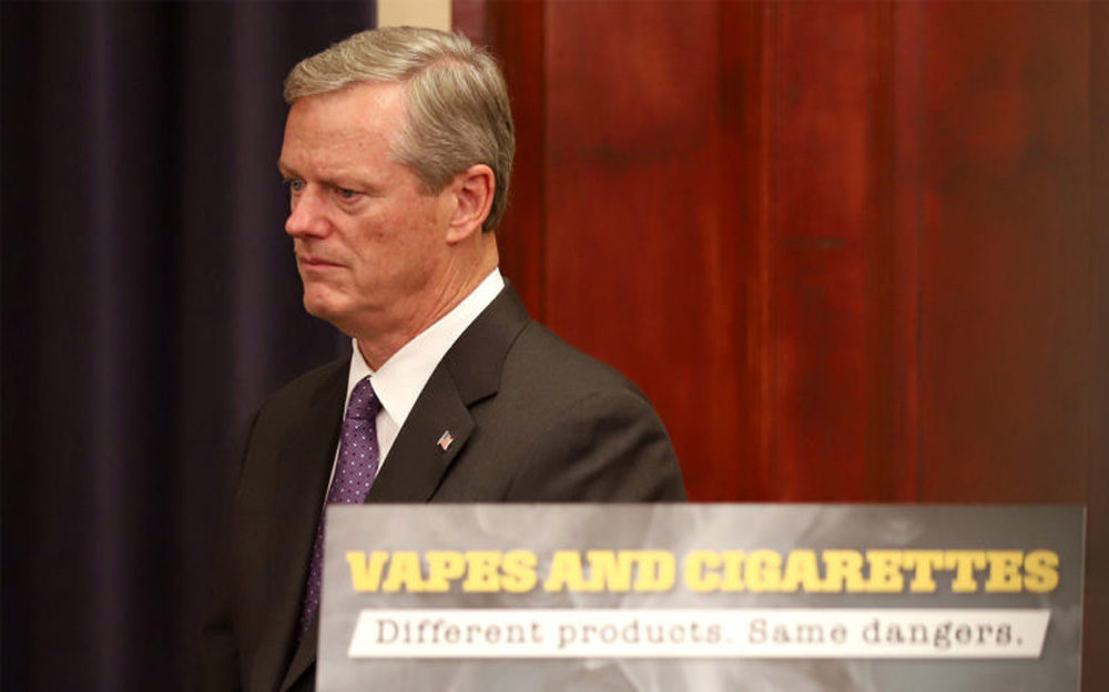 "E-cigarette usage is exploding and it's clear there's a very real danger to the population,"" Gov. Charlie Baker said at a Tuesday news conference where he declared vaping-related lung illnesses a public health emergency in the state. (Sam Doran/SHNS)"