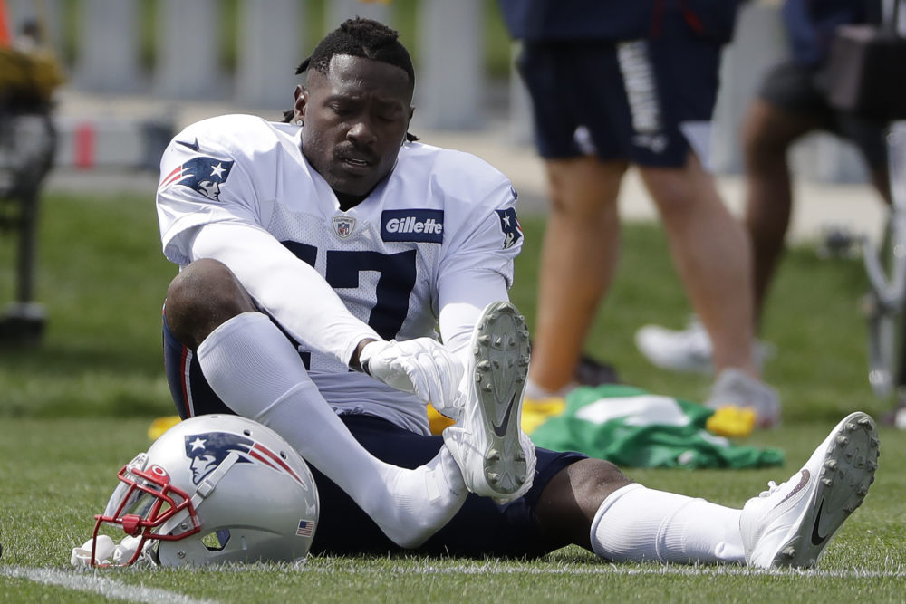 New England Patriots wide receiver Antonio Brown during practice in Foxborough. (Steven Senne/AP)