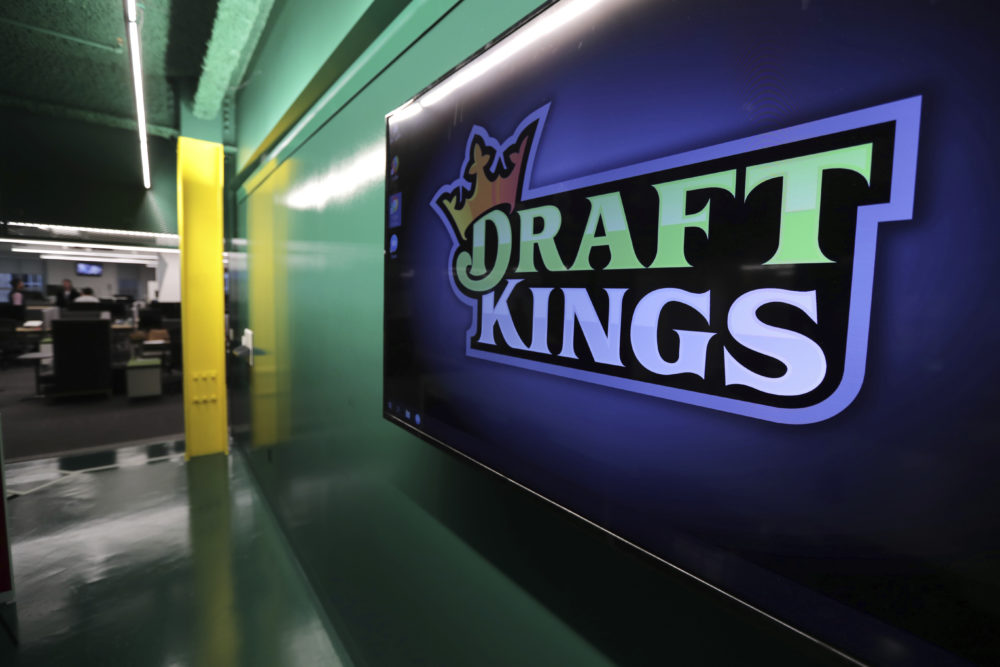 The DraftKings logo is displayed at the sports betting company's headquarters in Boston. (Charles Krupa/AP)