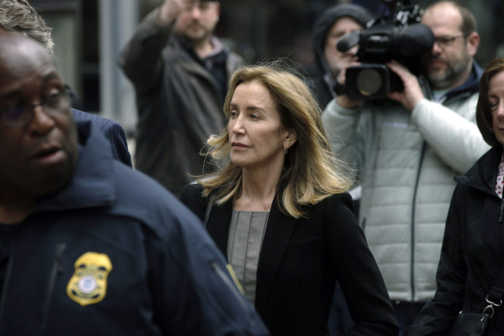 Felicity Huffman arrives at federal court Monday, May 13, 2019, in Boston. (Steven Senne/AP)