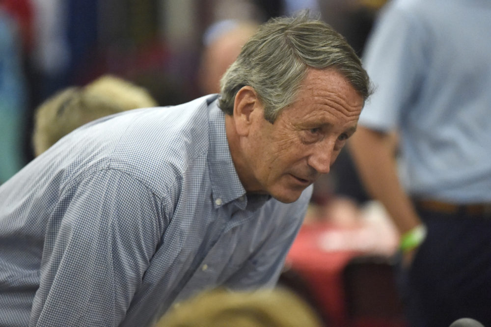 Former U.S. Rep. Mark Sanford speaks with attendees at U.S. Rep. Jeff Duncan's annual fundraiser on Monday, Aug. 26, 2019, in Anderson, S.C. (Meg Kinnard/AP)