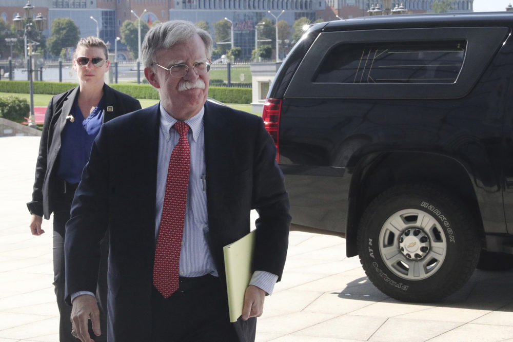 John Bolton, former U.S. National Security Adviser, arrives for a meeting with Belarusian President Alexander Lukashenko in Minsk, Belarus, Thursday, Aug. 29, 2019. (Nikolai Petrov/BelTA Pool Photo via AP)