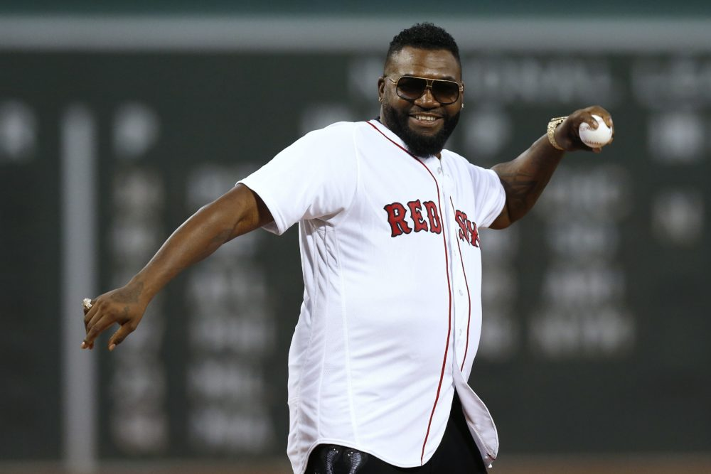 Former Boston Red Sox's David Ortiz throws out a ceremonial first pitch before a baseball game against the New York Yankees in Boston, Sept. 9, 2019. (Michael Dwyer/AP)