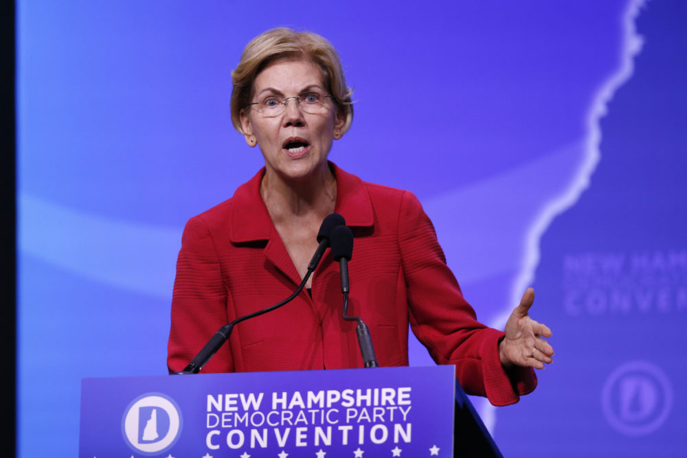 Democratic presidential candidate Sen. Elizabeth Warren, D-Mass., speaks during the New Hampshire state Democratic Party convention on Sept. 7, 2019, in Manchester, NH. (Robert F. Bukaty/AP)