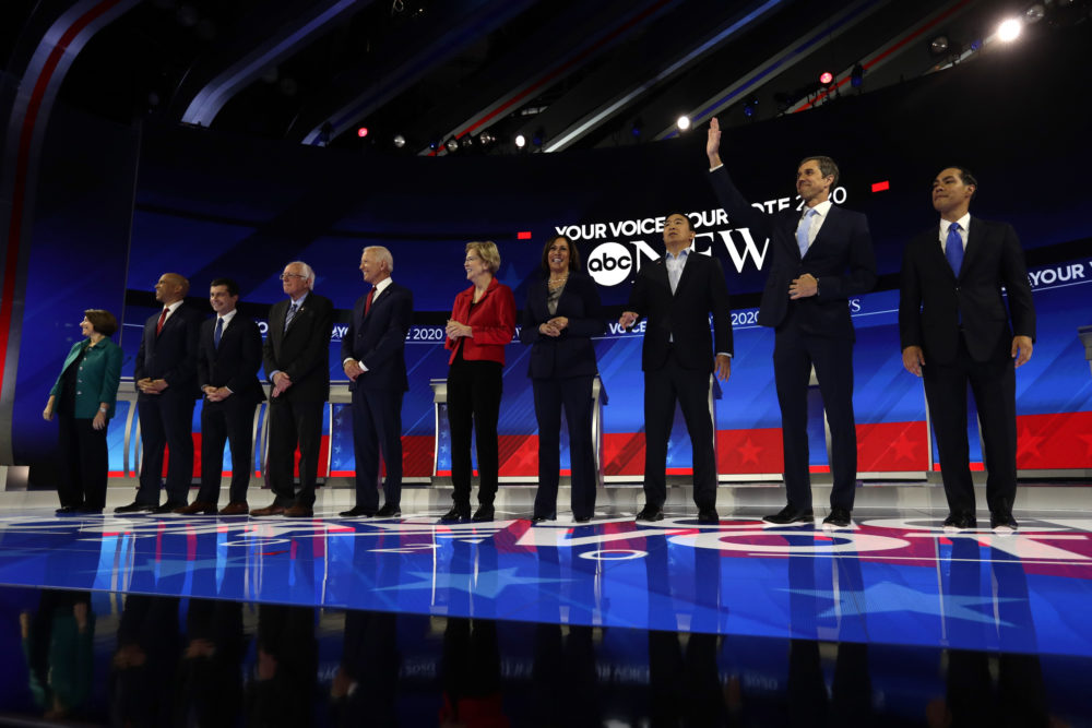 Democratic presidential candidates are introduced for the Democratic presidential primary debate hosted by ABC on the campus of Texas Southern University Thursday, Sept. 12, 2019, in Houston. (Eric Gay/AP)