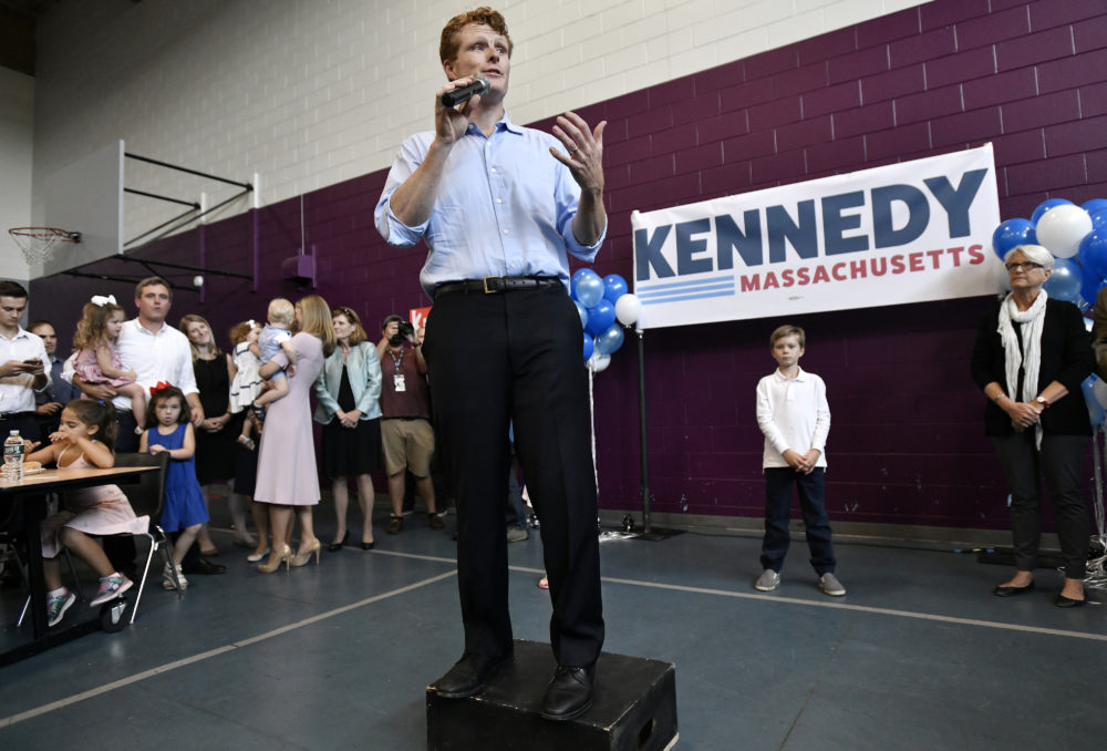U.S. Rep. Joe Kennedy III announces his Senate candidacy in East Boston on Saturday. (Josh Reynolds/AP)
