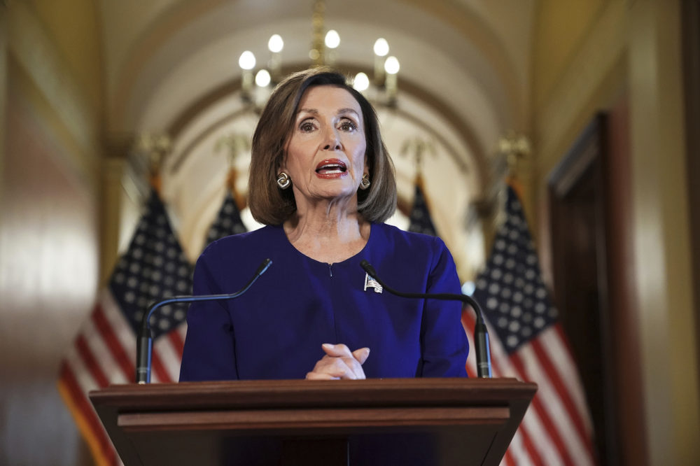 House Speaker Nancy Pelosi of Calif., reads a statement announcing a formal impeachment inquiry into President Donald Trump, on Capitol Hill in Washington, Tuesday, Sept. 24, 2019. (Andrew Harnik/AP)