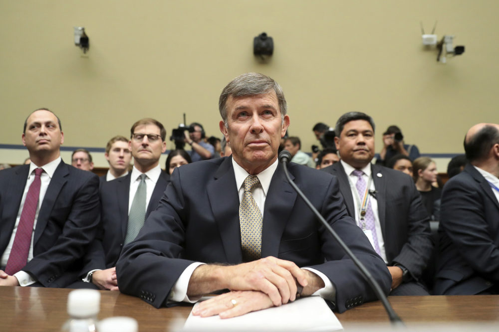 Acting Director of National Intelligence Joseph Maguire takes his seat before testifying before the House Intelligence Committee on Capitol Hill in Washington, Thursday, Sept. 26, 2019. (Andrew Harnik/AP)
