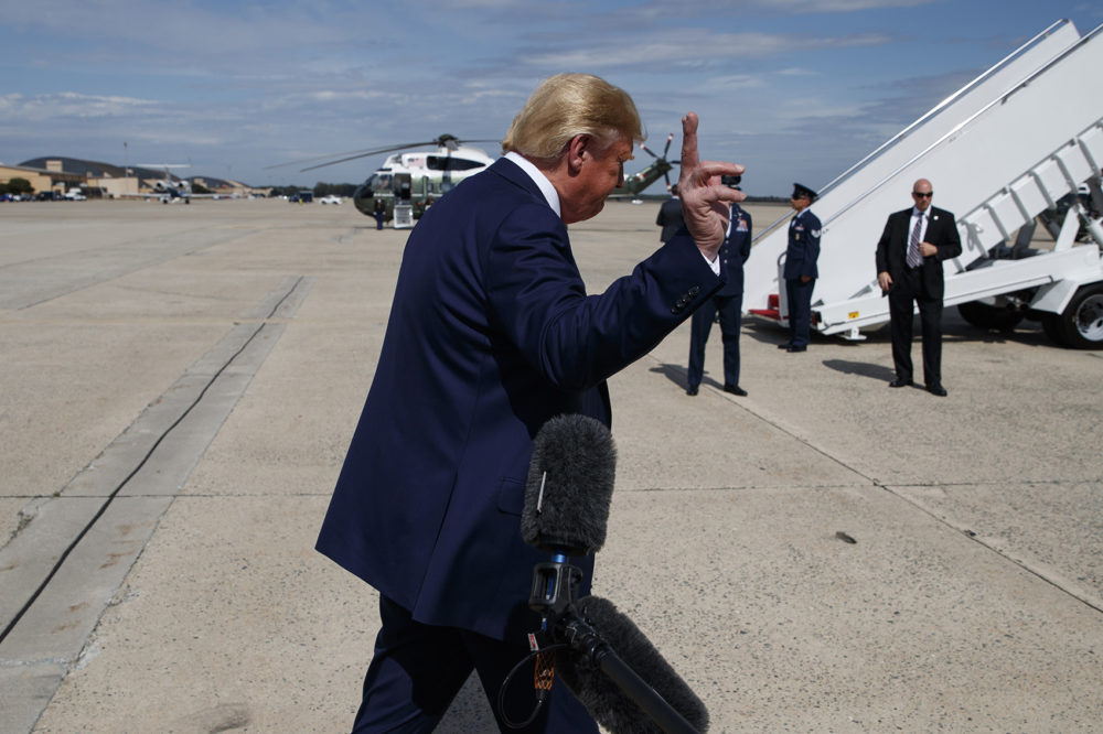 President Donald Trump walks off after speaking with reporters after arriving at Andrews Air Force Base, Thursday, Sept. 26, 2019, in Andrews Air Force Base, Md. (Evan Vucci/AP)