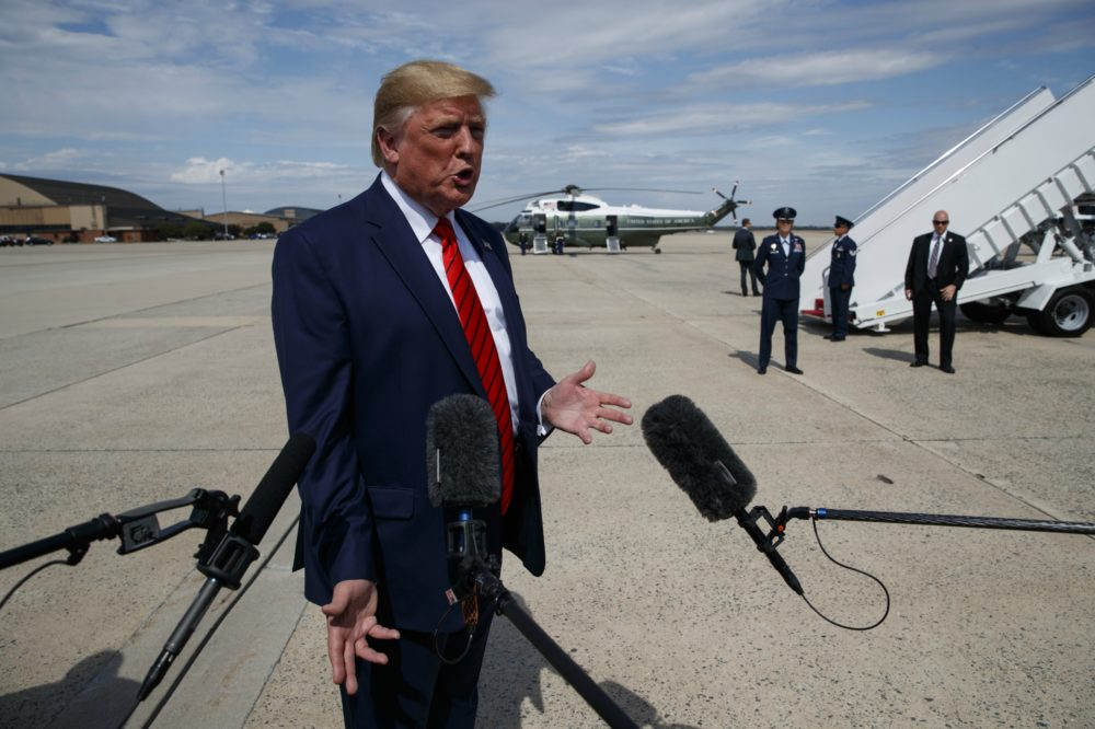 President Donald Trump talks with reporters after arriving at Andrews Air Force Base, Thursday, Sept. 26, 2019, in Andrews Air Force Base, Md. (Evan Vucci/AP)
