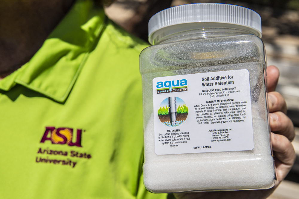 """This is the """"hydrogel"""" technology that ASU will put underneath the soccer fields. It holds onto the irrigation water and slowly releases it over time. It could save 45% of the 11 million gallons the fields drink up every year. (Richard Holland/ASU)"""