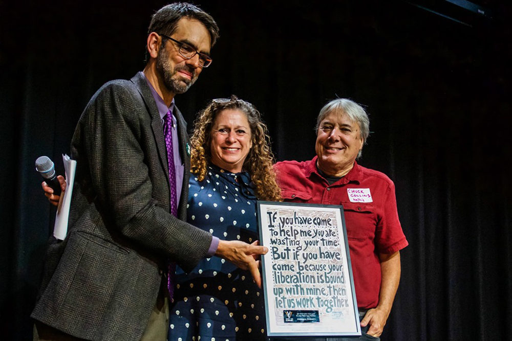 Abigail Disney receiving an award at the United for a Fair Economy 25th Anniversary Celebration. (Photo by Pedro Cruz/Courtesy of United for a Fair Economy)
