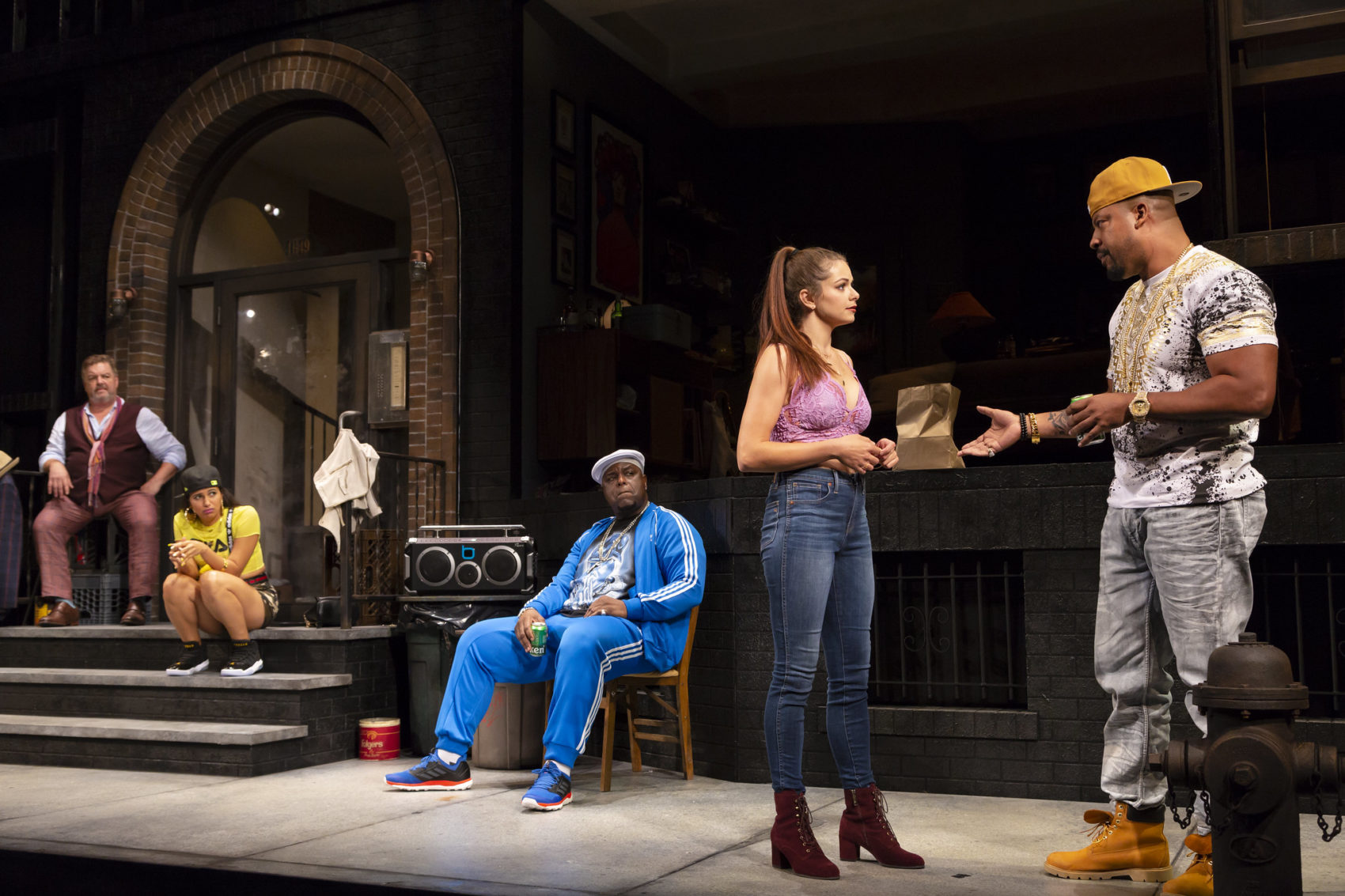 "John Scurti as Gerry, Analisa Velez as Val, J. Bernard Calloway as Mr. Bugz, Izzie Steele as Nancy and Morocco Omari as Lamont in ""The PUrists"" at the Huntington Theatre Company. (Courtesy  T Charles Erickson)"