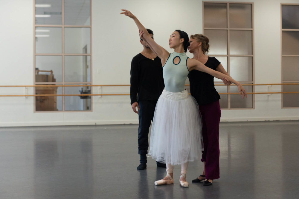 "Larissa Ponomarenko works with Ji Young Chae and Tigran Mkrtchyan on staging for ""Giselle."" (Courtesy Brooke Trisolini/Boston Ballet)"