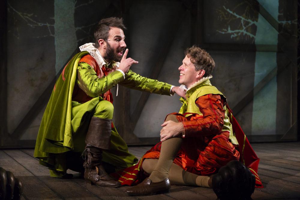 "Alex Hurt as Rosencrantz and Jeremy Webb as Guildenstern in ""Rosencrantz & Guildenstern Are Dead"" at the Huntington Theatre Company. (Courtesy T Charles Erickson)"