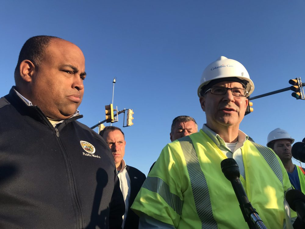 Lawrence Mayor Dan Rivera and Columbia Gas of Massachusetts President Mark Kempic speak during a news conference Sept. 27 about the gas leak. (Quincy Walters/WBUR)