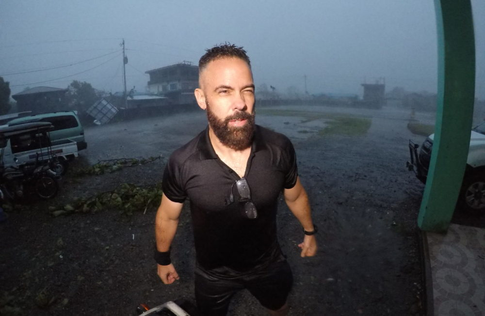 Josh Morgerman during a hurricane. (Photo courtesy of Discovery)