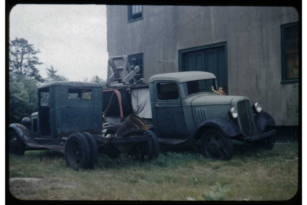 Old bog trucks at Duxbury Cranberry Company in 1959. (Courtesy of Special Collections and University Archives, University of Massachusetts Amherst Libraries)