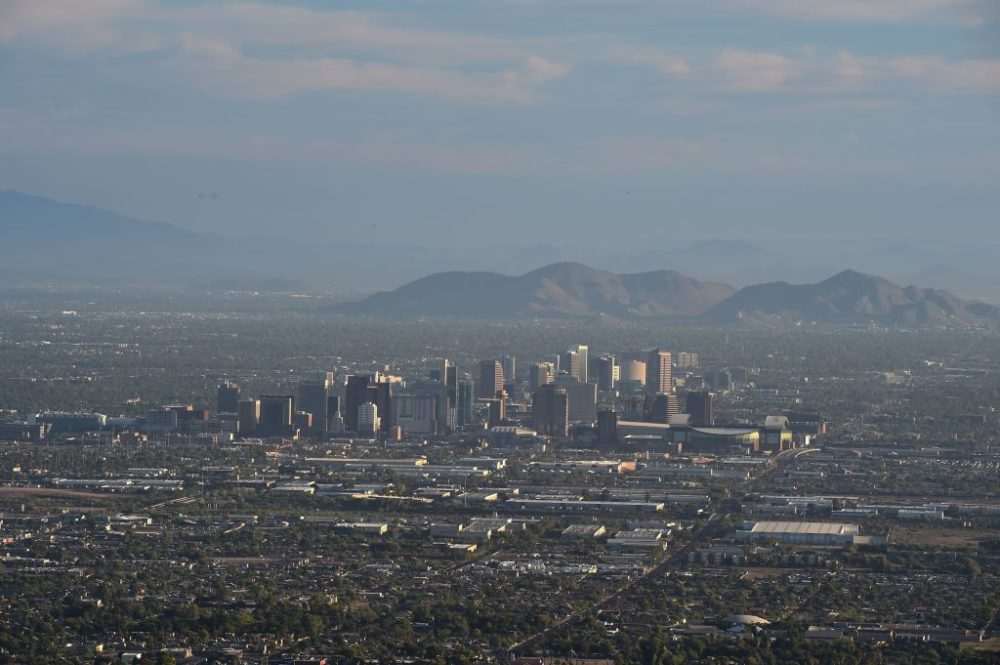 View of the downtown Phoenix city skyline as seen from South Mountain Park. (Robyn Beck/AFP/Getty Images)