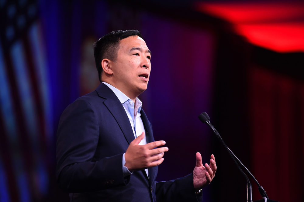 2020 U.S. Democratic Presidential hopeful Andrew Yang speaks on-stage during the Democratic National Committee's summer meeting in San Francisco, Calif., on August 23, 2019. (Josh Edelson/AFP/Getty Images)