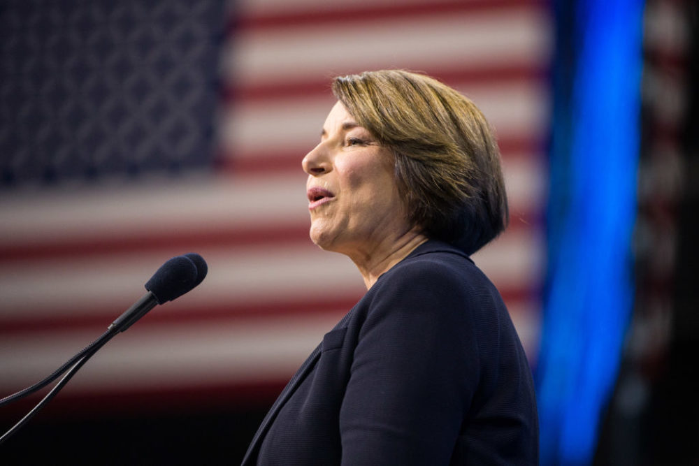 Sen. Amy Klobuchar speaks during the New Hampshire Democratic Party Convention at the SNHU Arena in Manchester, New Hampshire. (Scott Eisen/Getty Images)