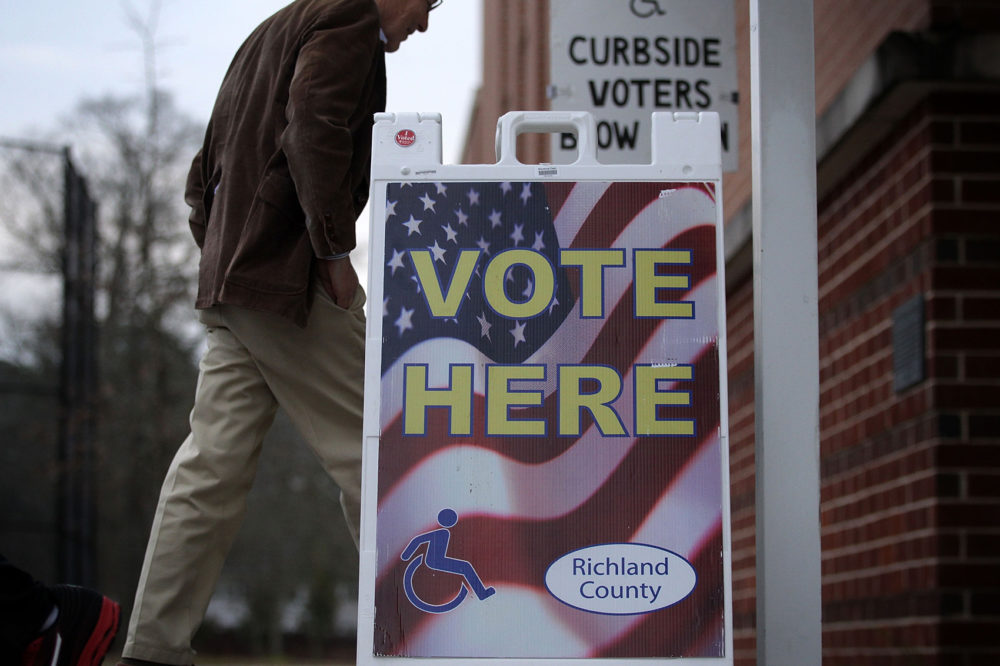 A voter arrives at a polling station at Dreher High School Feb. 20, 2016 in Columbia, S.C. (Alex Wong/Getty Images)