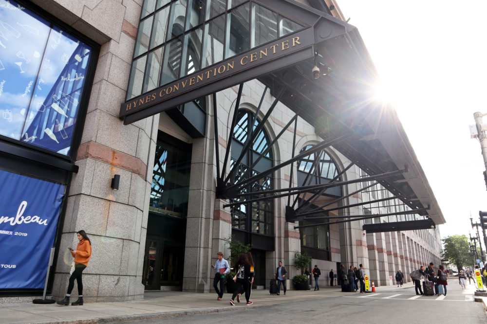 The entrance to the Hynes Convention Center. (Adrian Ma/WBUR)