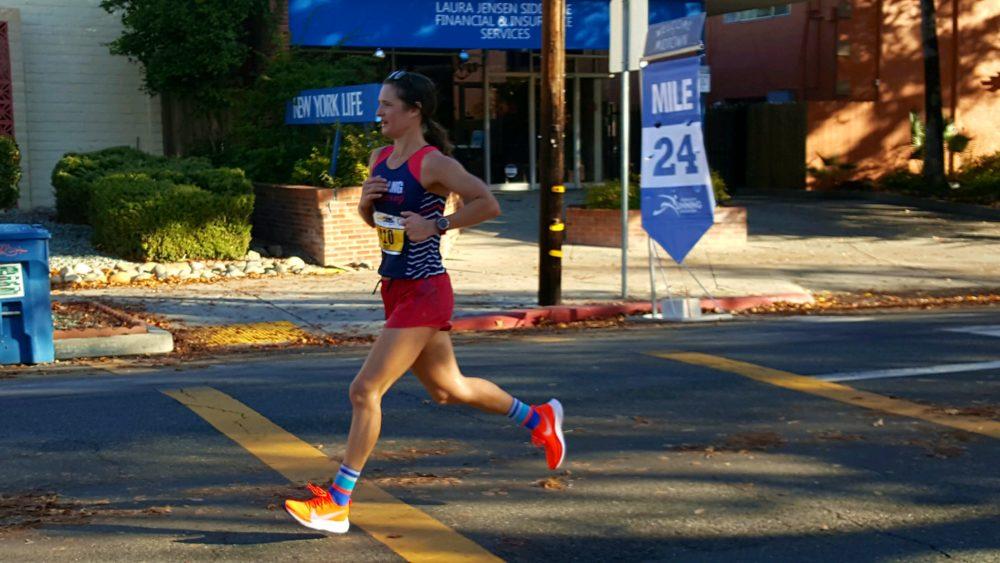 Hayley Sutter at Mile 24 of last year's California International Marathon. (Courtesy Hayley Sutter)