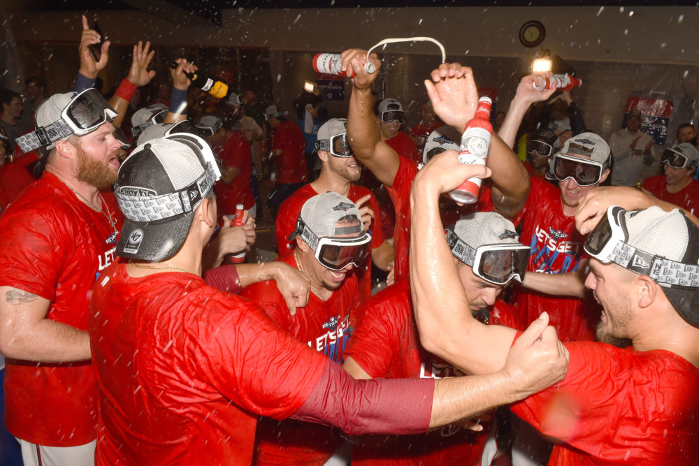 The Washington Nationals celebrate clinching a spot in the 2019 playoffs. (Mitchell Layton/Getty Images)