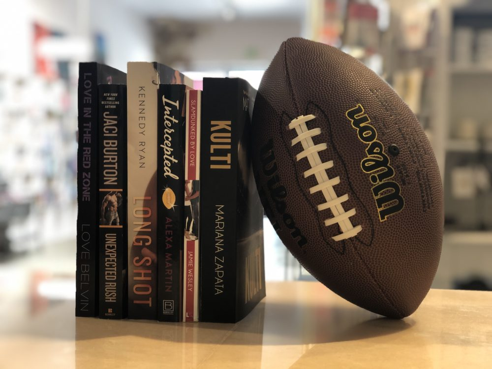 Sports romance novels on display at The Ripped Bodice, a bookstore specializing in romance fiction in Culver City, California. (Photo courtesy The Ripped Bodice)