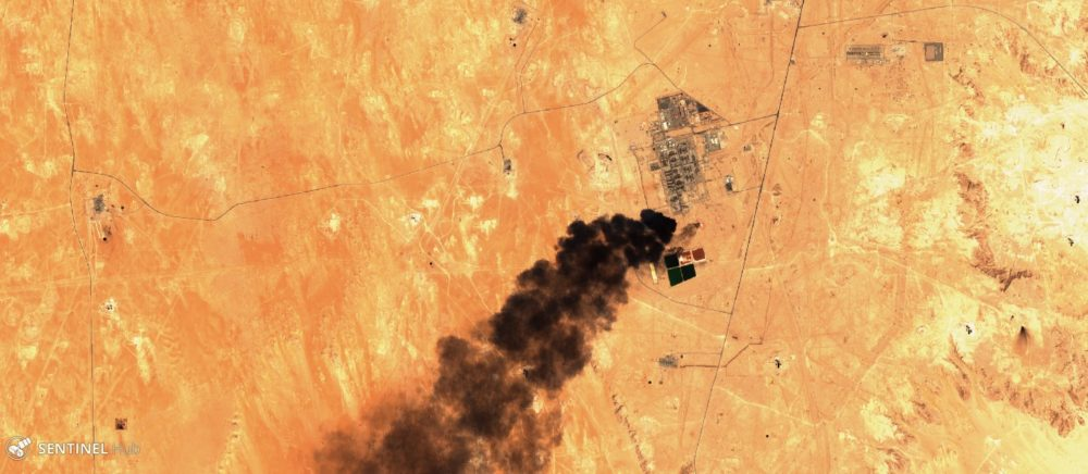 Emerging flaring of gas at the Shedgum Gas Plant, Saudi Arabia, captured by the Sentinel-2 satellite in September 2019. (Photo credit: European Space Agency)