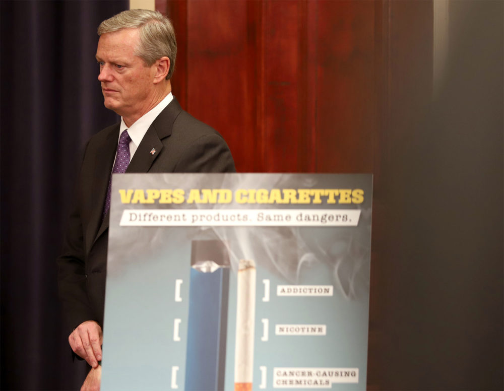"""E-cigarette usage is exploding and it's clear there's a very real danger to the population,"" Gov. Charlie Baker said at a Tuesday news conference where he declared vaping-related lung illnesses a public health emergency in the state. (Sam Doran/SHNS)"