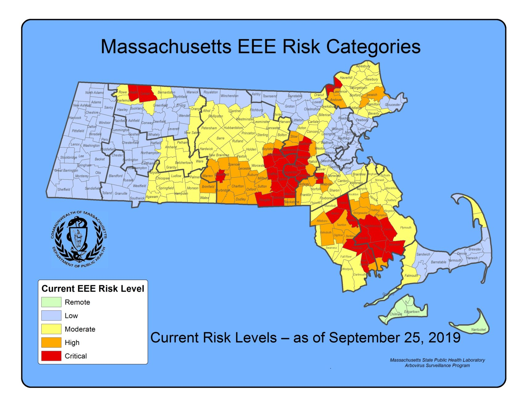 Massachusetts health officials have increased the number of communities at high risk for EEE
