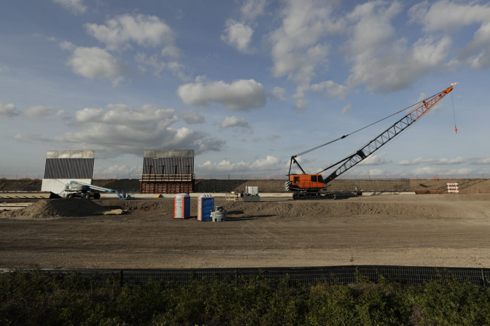 The first panels of levee border wall are seen at a construction site along the U.S.-Mexico border on Nov. 7 in Donna, Texas. (Eric Gay/AP)