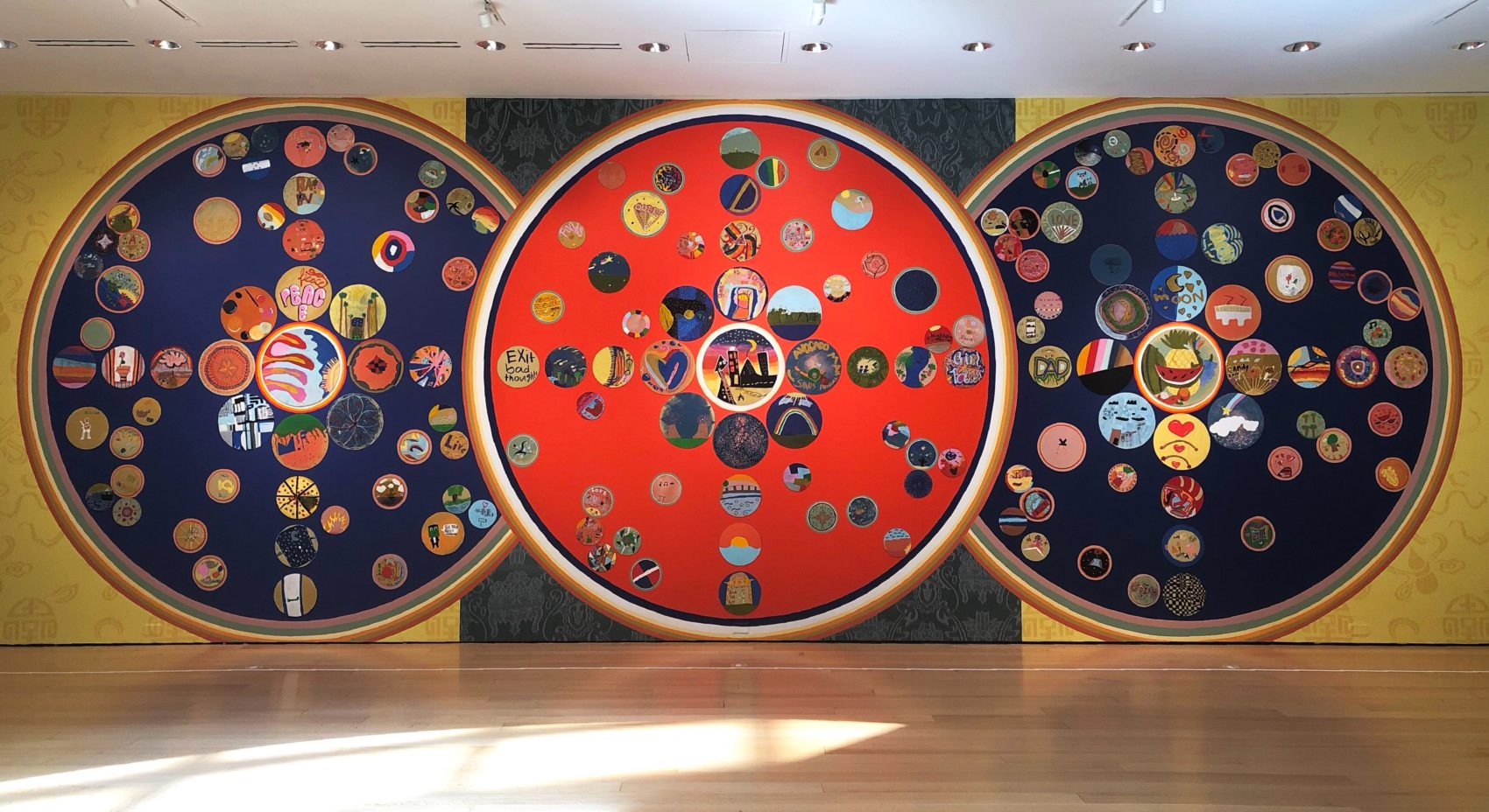 "Sneha Shrestha's ""Mindful Mandalas"" at the MFA. (Spencer Icasiano for WBUR)"