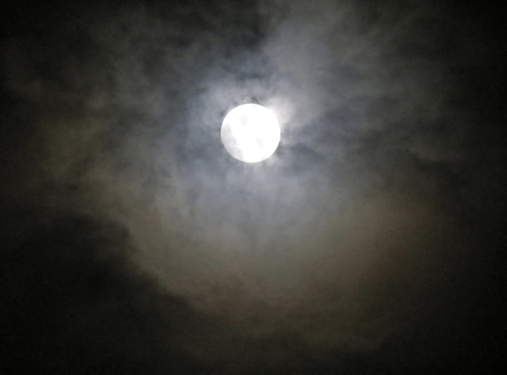 """Unlike the big orange """"Harvest Moon"""" you may be imagining, this moon shot might be closer to what tonight's will look like. (rulenumberone2/flickr)"""