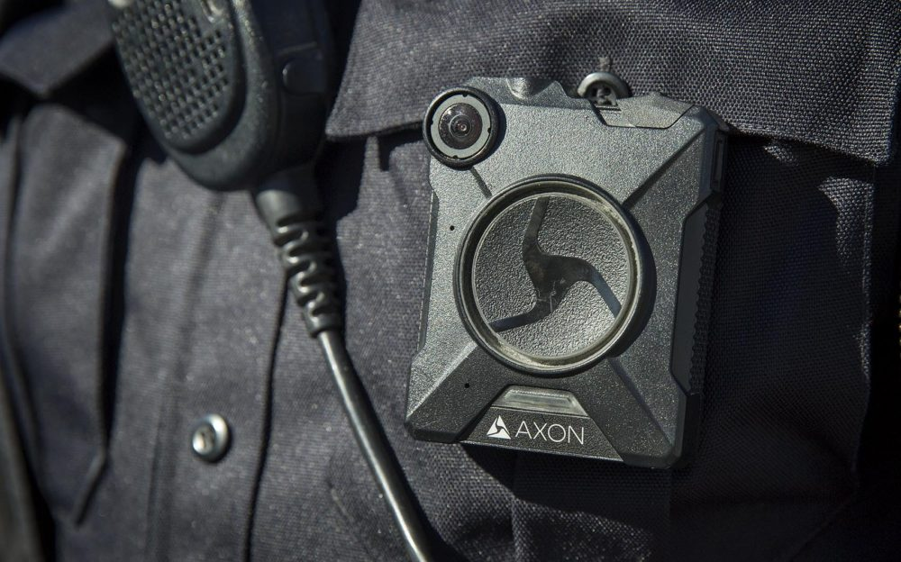 A police body camera similar to those worn by Boston Police. (Robin Lubbock/WBUR)