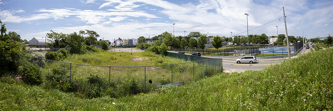 The site of the proposed East Boston electrical substation on Condor Street near Chelsea Creek. (Jesse Costa/WBUR)