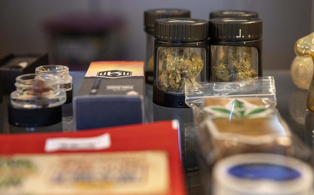 Products on display at Caroline's Cannabis. (Robin Lubbock/WBUR)