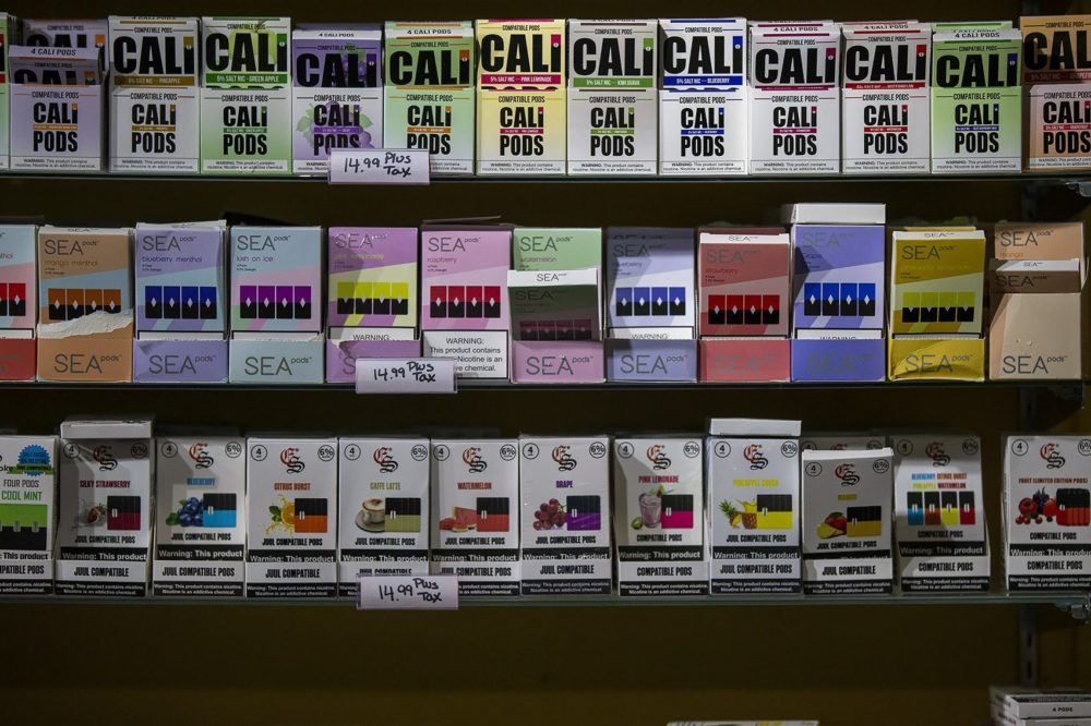 Vaping products, like these that were on display at Liquid Smoke Shop in Allston in September, were temporarily banned by the state. (Jesse Costa/WBUR)